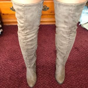 Brownish grey thigh high suede boots